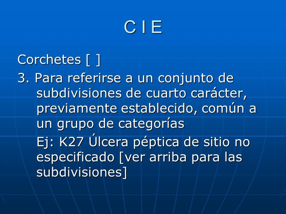 C I E Corchetes [ ] 3. Para referirse a un conjunto de subdivisiones de cuarto carácter, previamente establecido, común a un grupo de categorías.